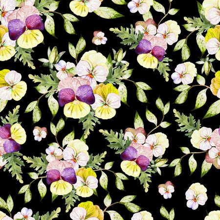 Watercolor colorful pattern with pansy flowers. Illustration 版權商用圖片