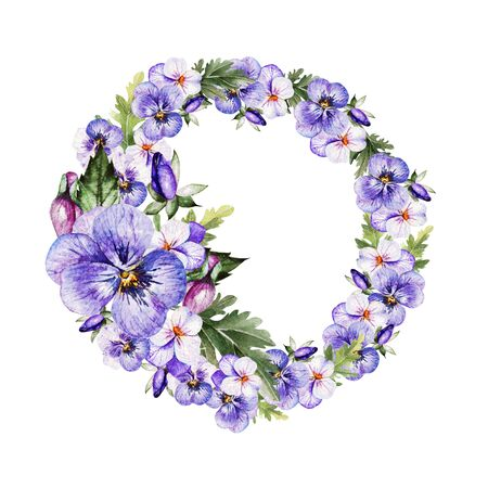 Watercolor colorful  wreath with pansy flowers.  Illustration