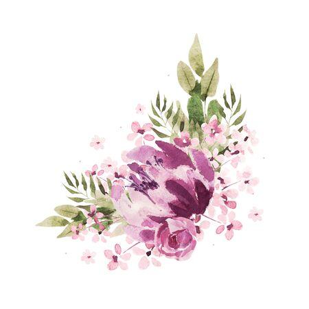 Beautiful Watercolor wedding purple wreath with roses flowers and peony, leaves. Illustration 版權商用圖片