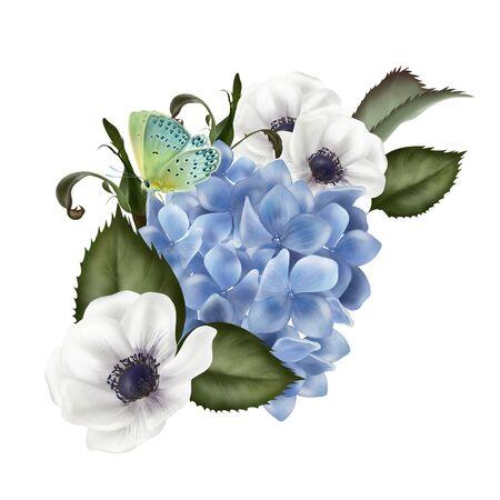 Beautiful wedding Bouquet  with hydrangea flowers. Illustration 版權商用圖片