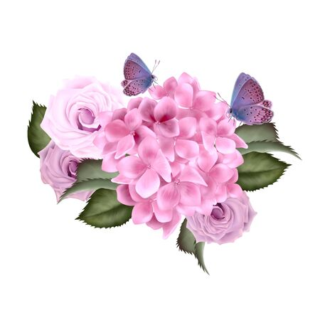 Beautiful wedding Bouquet  with rose and hydrangea flowers. Illustration