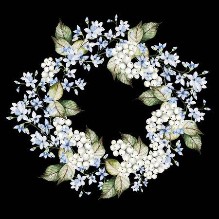 Beautiful watercolor wedding wreath with forget me not flowers and snowberry. Illustration 版權商用圖片