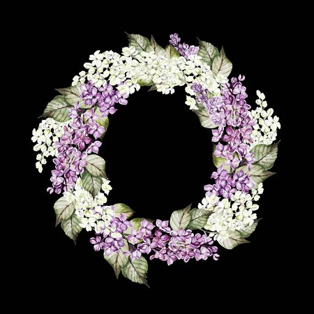 Watercolor wedding wreath with lilac flowers. Illustration 스톡 콘텐츠