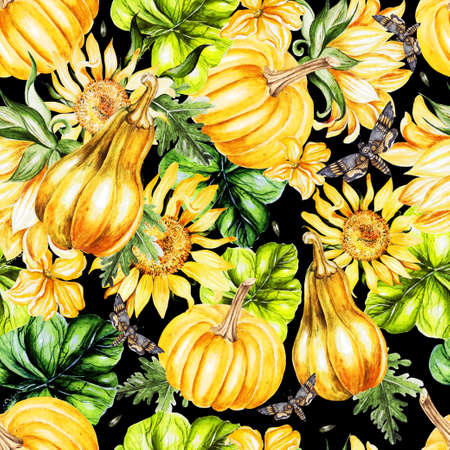 Beautiful watercolor seamless pattern with sunflower, pumpkins and leaves. Illustration
