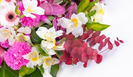 Beautiful bouquet of flowers on a white background Banco de Imagens - 137893832