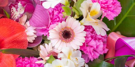 Beautiful bouquet of flowers on a white background. Top view Banco de Imagens - 137894692