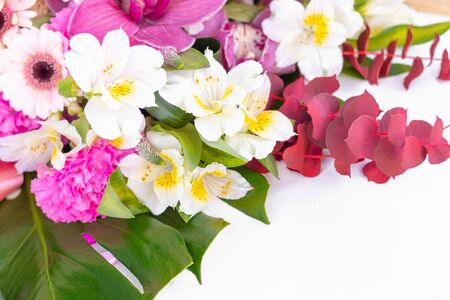 Beautiful bouquet of flowers on a white background Banco de Imagens