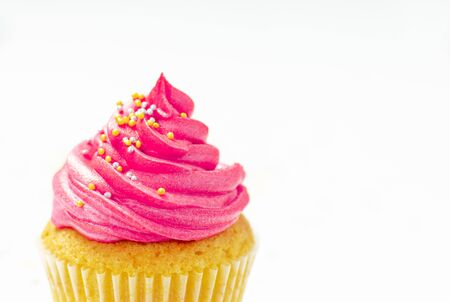 cupcakes with cheese cream and small decorative balls Zdjęcie Seryjne