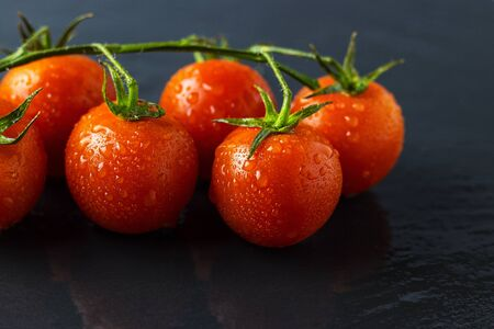 ripe little tomatoes on a branch