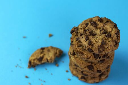 Fresh cookies with chocolate chips.