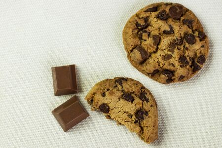Fresh cookies with chocolate chips. Top view