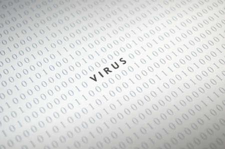 Virus with binary code Stock Photo