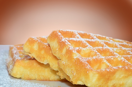 Waffles with icing sugar Stock Photo