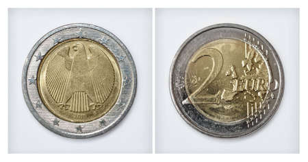 internationally: Euro coin front and back