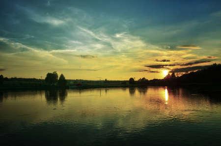 dark sunset on lake