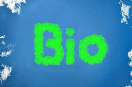 Bio written in clouds in green