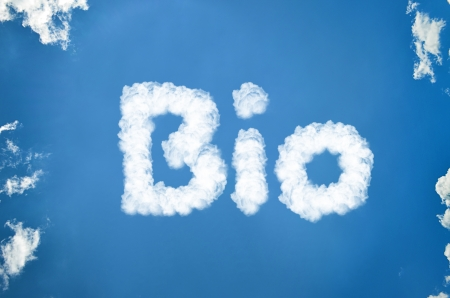 bio written in clouds Stock Photo