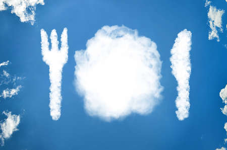 Cutlery and plates made out of clouds