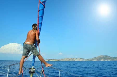 skipper on a sailboat