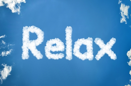 Relax written in clouds