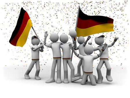 exultation: german football fans celebrating