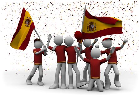 tricot: spanish football fans celebrating
