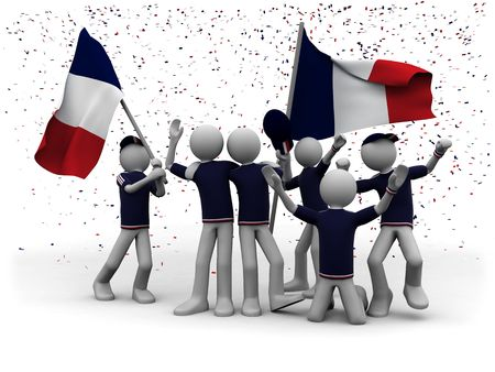 cheerfulness: french football fans celebrating