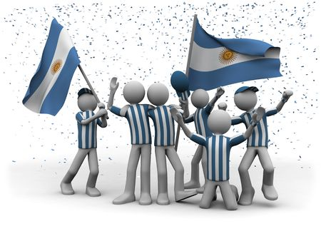 world championship: argentinian football fans celebrating Stock Photo