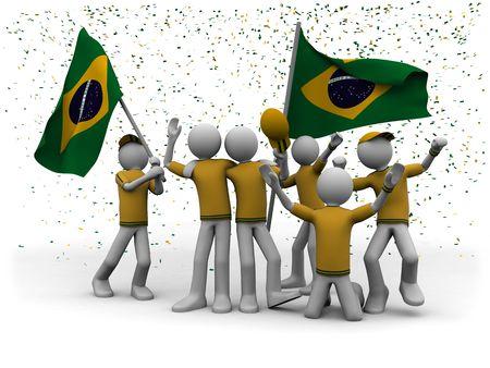 soccer world cup: brazilian football fans celebrating