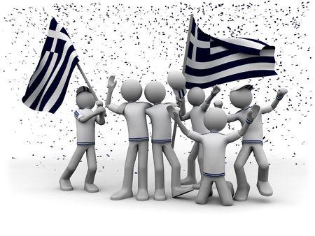 exultation: greek football fans celebrating
