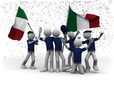exultation: italian football fans celebrating