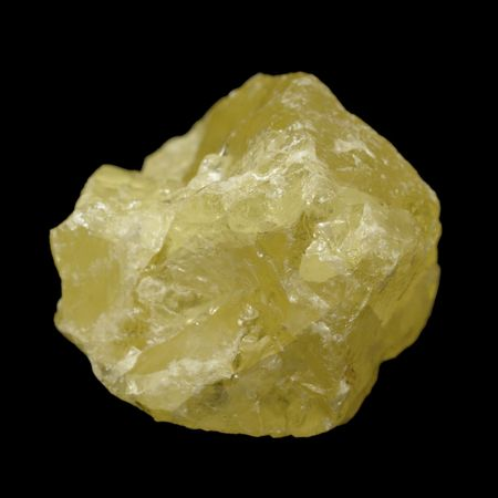 elemental: Crystal form of elemental sulfur (S) isolated on black