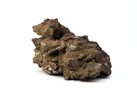 inclusions: Pyrite: Isolated piece of rock from mineral collection. Pyrite is one of the form of iron.