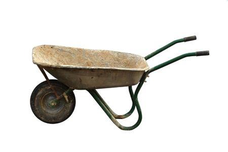 barrow: Wheelbarrow  — empty dirty construction working barrow isolated on white Stock Photo