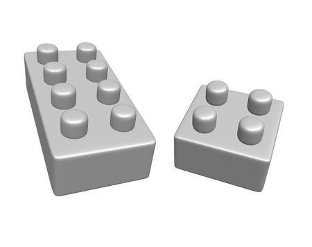 interlocking: 3d rendered blank interlocking bricks