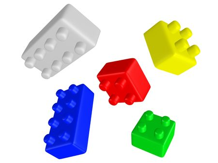 3d rendered colorful interlocking bricks Stock Photo - 3584276