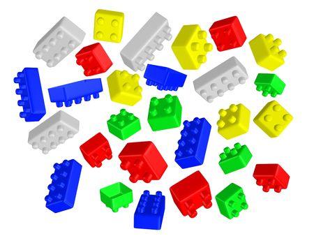 3d rendered colorful interlocking bricks   Stock Photo - 3584278