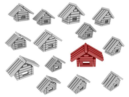 modest: Set of 3d rendered stylized houses
