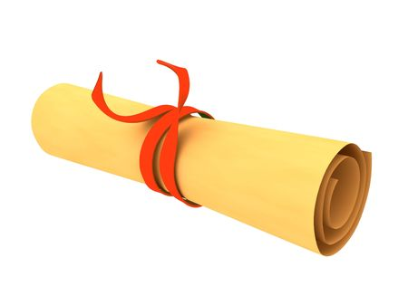 3d rendered rolled magic scroll  photo