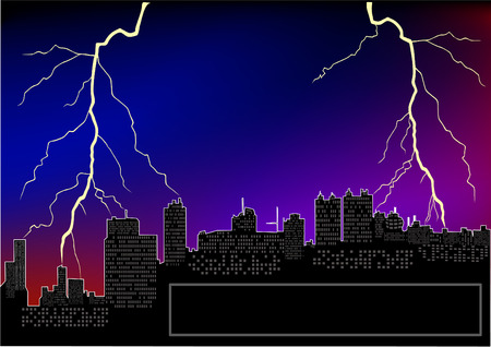 Night city silhouette with lightnings   Stock Vector - 4160972
