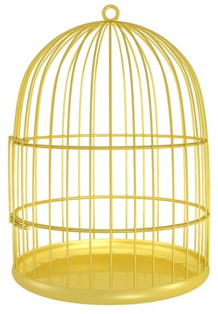 empty golden cage for a bird