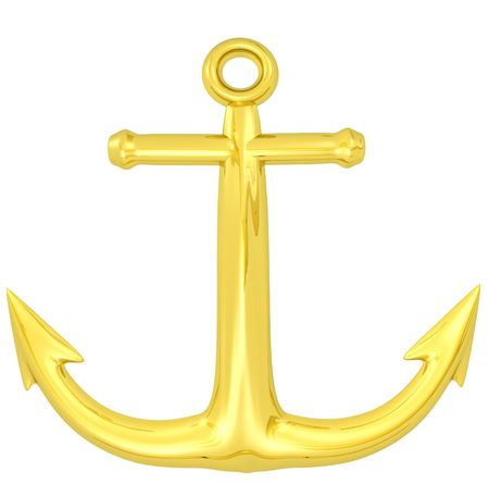 3d rendered gold anchor emblem Stock Photo - 4215081