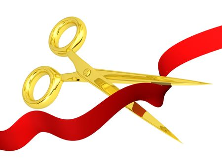 opening concept ? gold scissors cutting red ribbon
