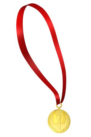 gold medal on red ribbon   Stock Photo