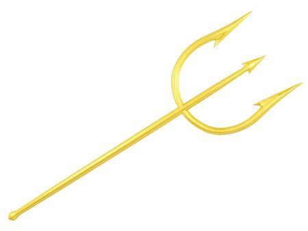 trident: gold trident for Poseidon or devil   Stock Photo