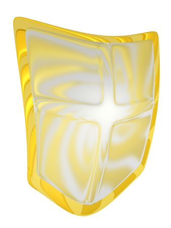 3d rendered gold/silver shield Stock Photo - 4270564