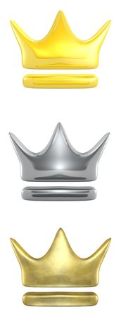 3d rendered gold, silver and brass crowns  Stock Photo