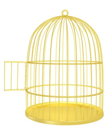 empty opened golden cage 3d render photo