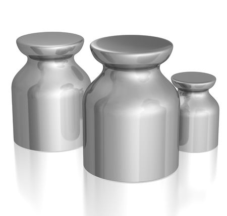 pesantezza: 3d resi pesi isolato su bianco