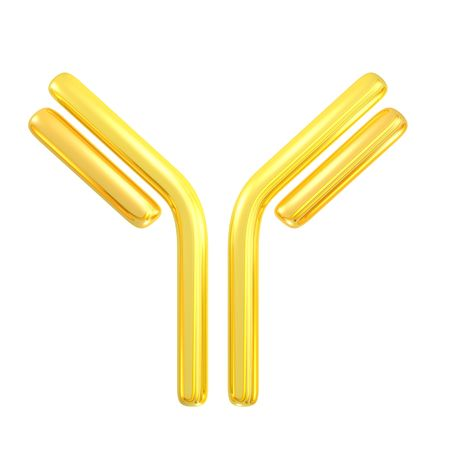 3d rendered golden antibody symbol for pharmacy related design